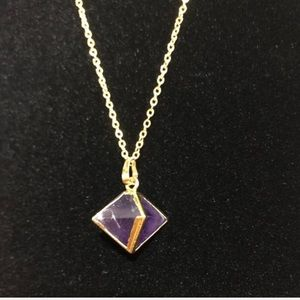 Natural Purple Fluorite Necklace 18k GP Gold
